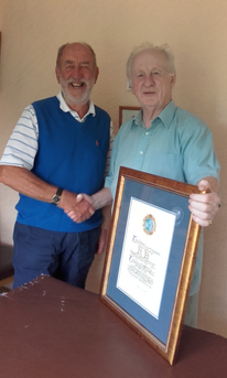 Chairman Peter Brown congratulates Roy Birch on being made a Freeman of Tidenham